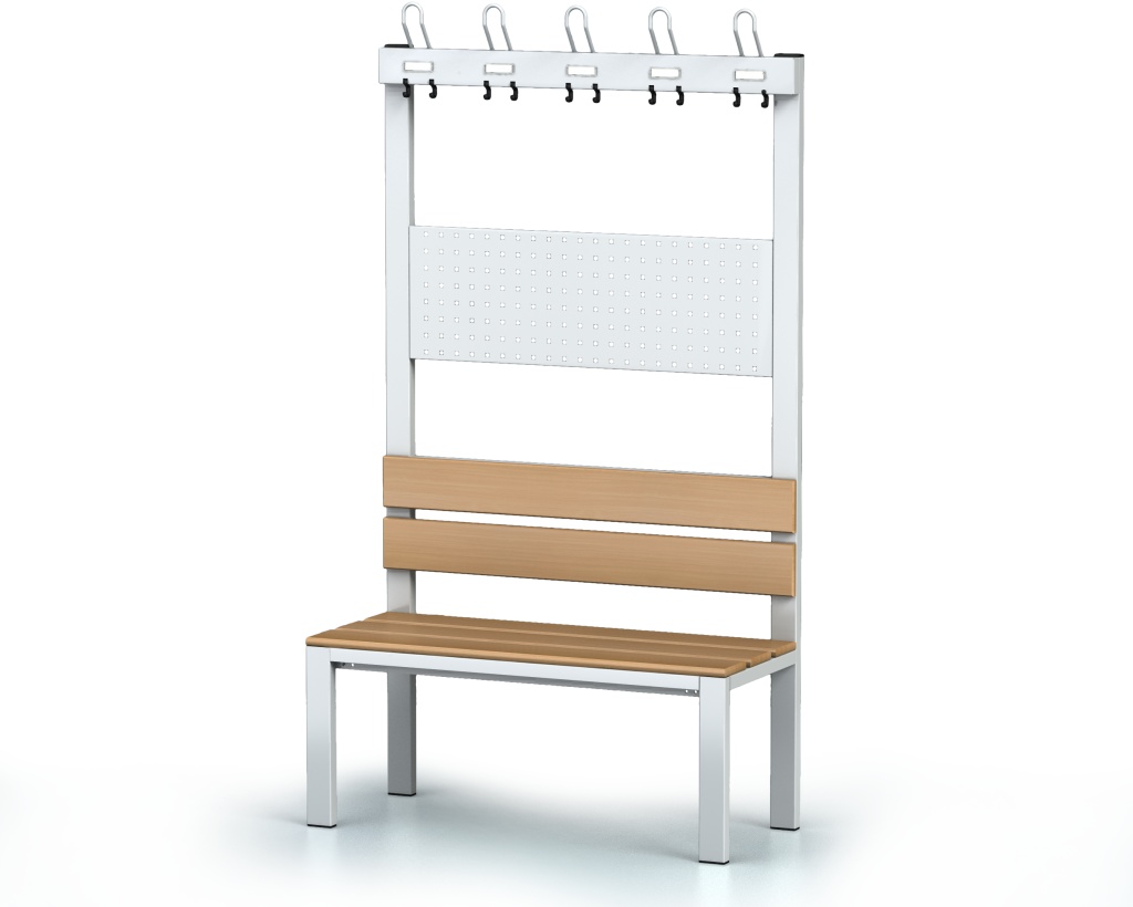 Benches with backrest and racks, beech sticks -  basic version 1800 x 1000 x 430