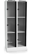 Locker with six glass-filled doors 1920 x 800 x 500