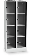 Locker with eight glass-filled doors 1920 x 800 x 500