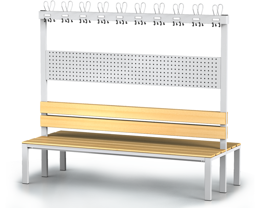 Double-sided benches with backrest and racks, beech sticks -  basic version 1800 x 2000 x 830