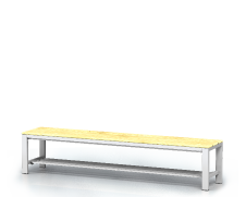 Benches with spruce sticks -  with a reclining grate 420 x 2000 x 400