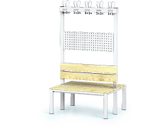 Double-sided benches with backrest and racks, spruce sticks -  basic version 1800 x 1000 x 830