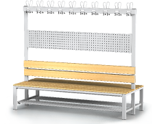 Double-sided benches with backrest and racks, beech sticks -  with a reclining grate 1800 x 2000 x 830
