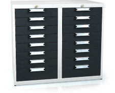 Universal cabinet for workbenches 840 x 963 x 600 - 16x drawer
