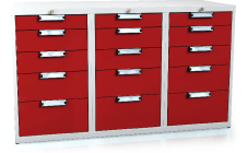 Universal cabinet for workbenches 840 x 1443 x 600 - 15x drawer