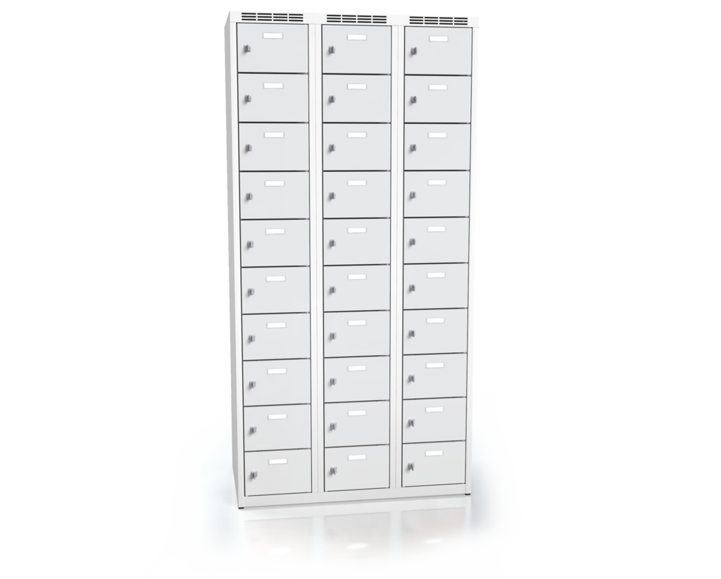 Cloakroom locker with thirty lockable boxes ALSIN 1800 x 900 x 500
