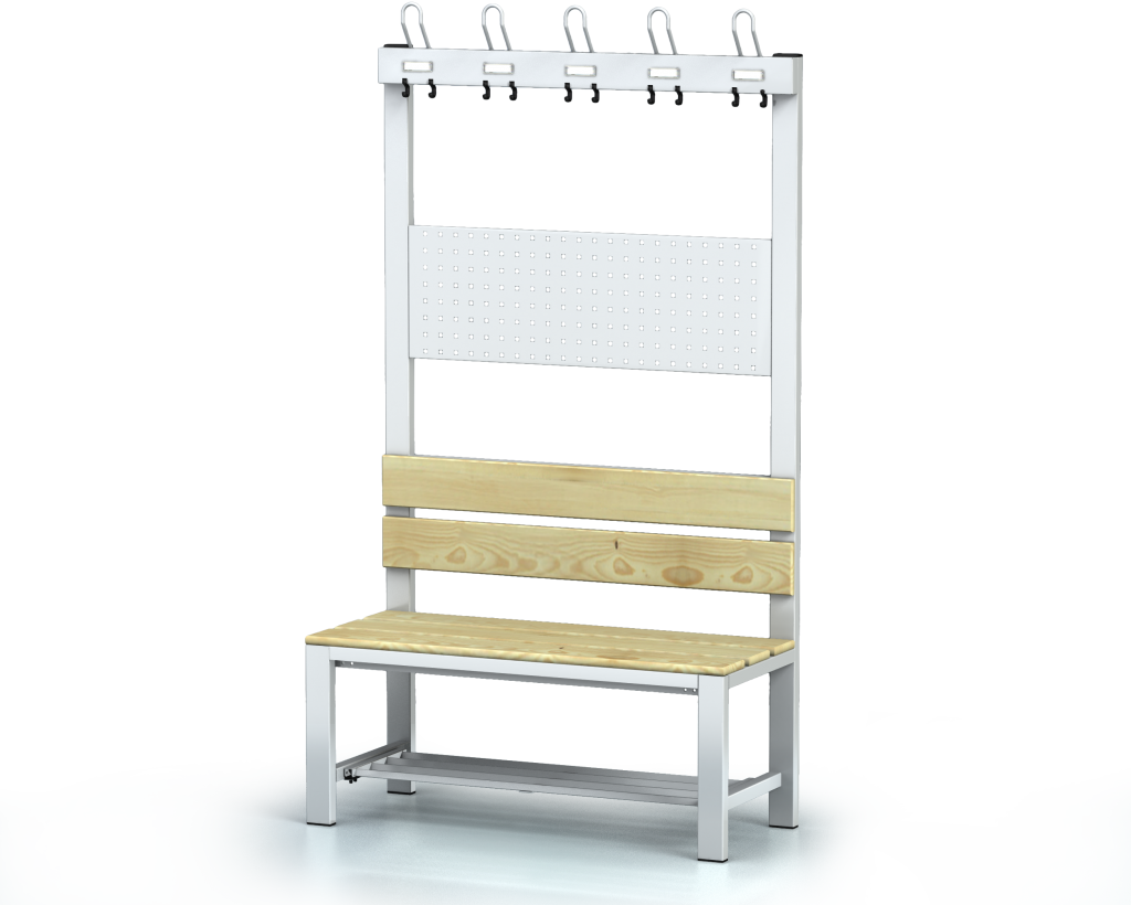 Benches with backrest and racks, spruce sticks -  with a reclining grate 1800 x 1000 x 430
