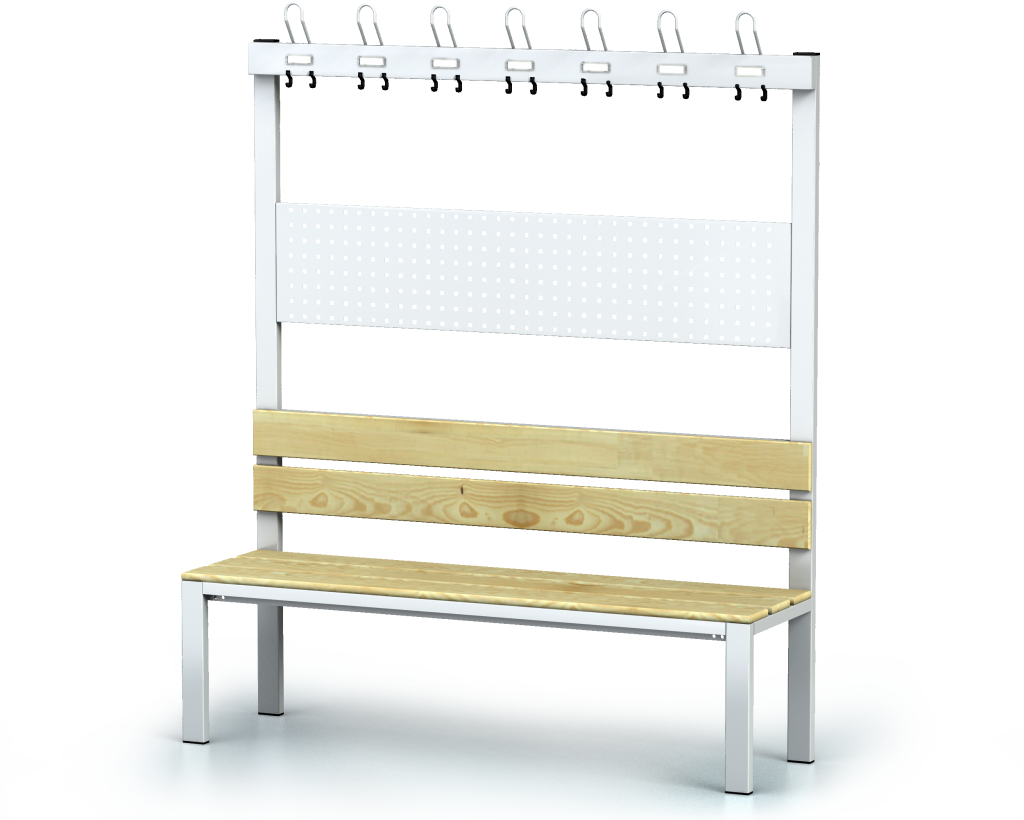 Benches with backrest and racks, spruce sticks -  basic version 1800 x 1500 x 430