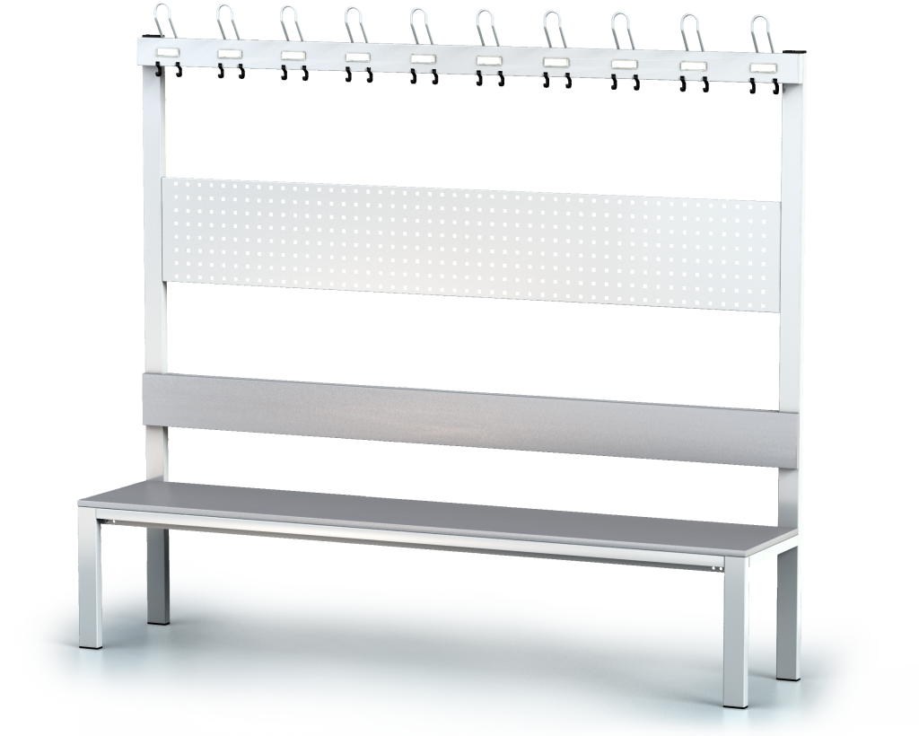 Benches with backrest and racks, laminated desk -  basic version 1800 x 2000 x 430