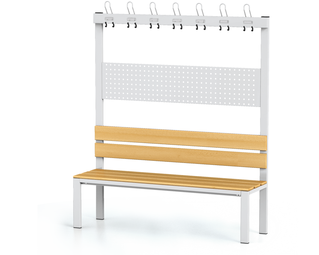 Benches with backrest and racks, beech sticks -  basic version 1800 x 1500 x 430