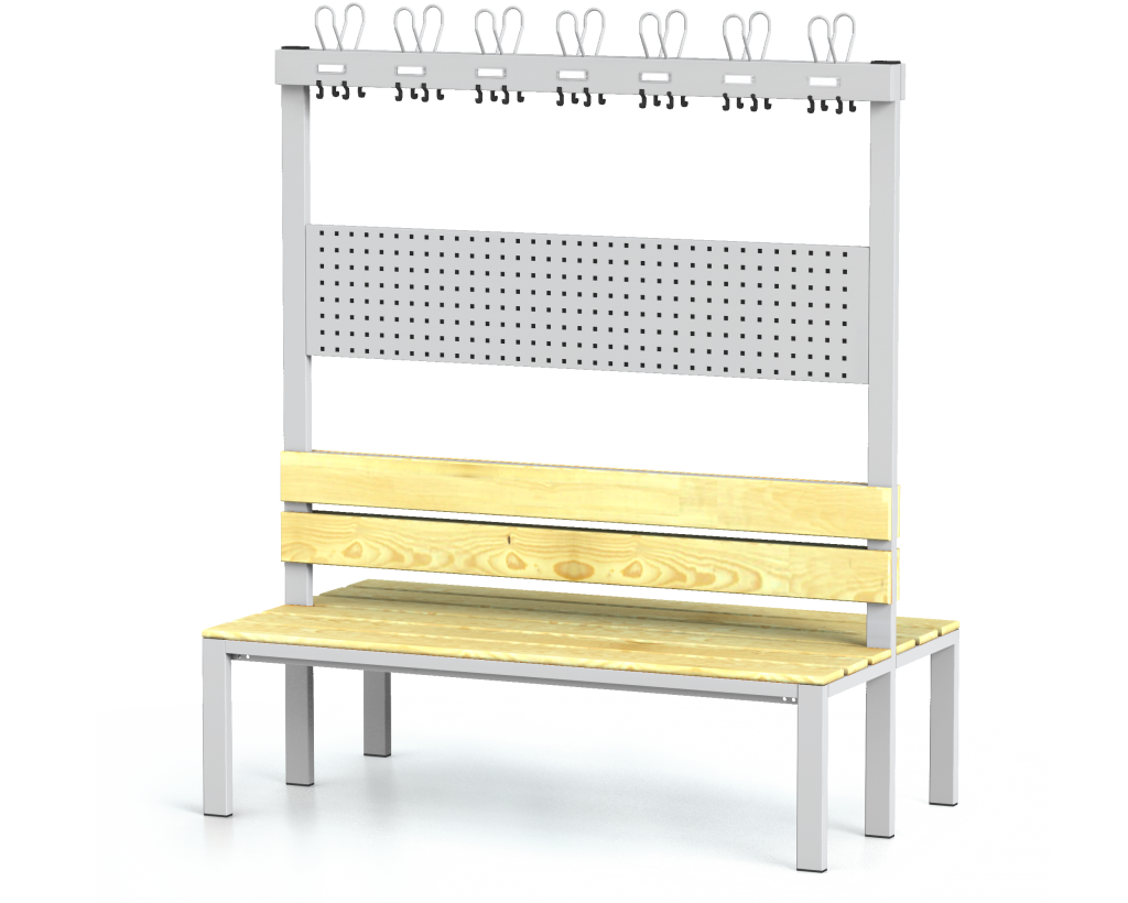 Double-sided benches with backrest and racks, spruce sticks -  basic version 1800 x 1500 x 830