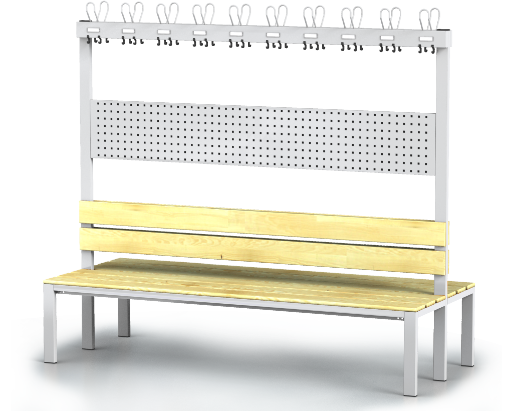 Double-sided benches with backrest and racks, spruce sticks -  basic version 1800 x 2000 x 830
