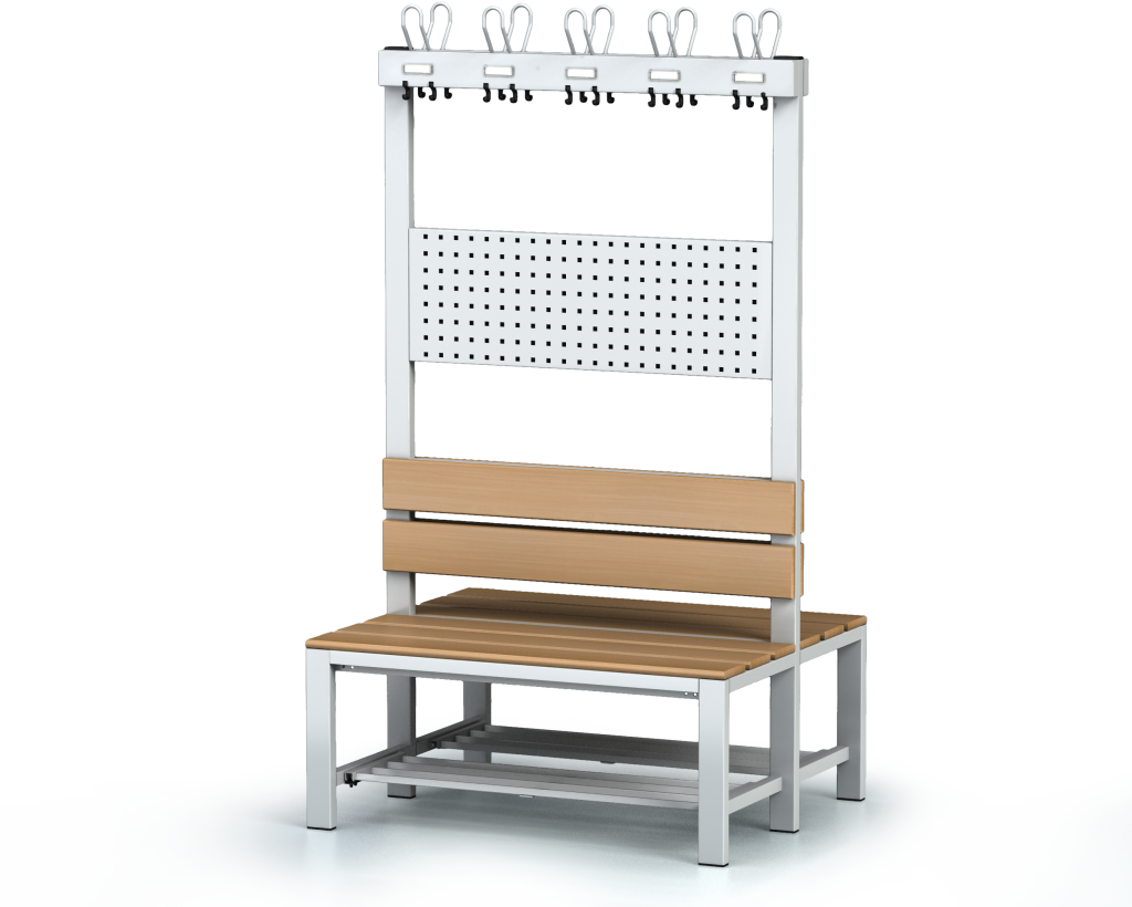 Double-sided benches with backrest and racks, beech sticks -  with a reclining grate 1800 x 1000 x 830