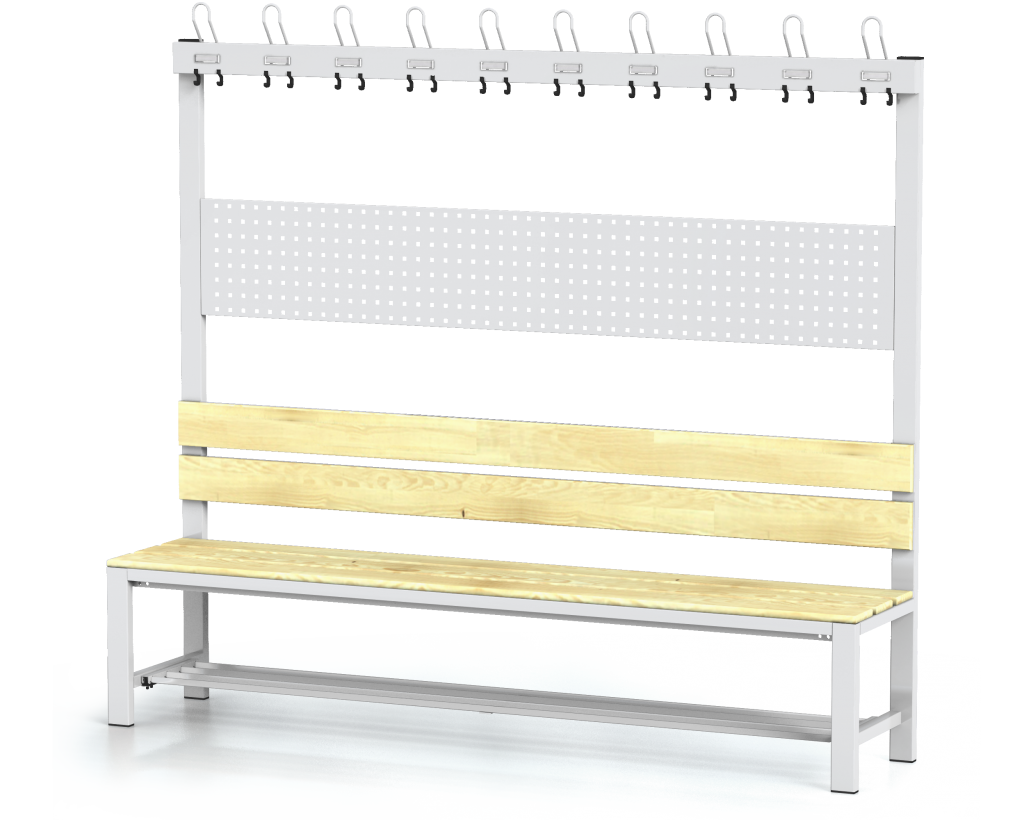 Benches with backrest and racks, spruce sticks -  with a reclining grate 1800 x 2000 x 430